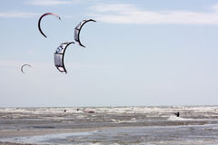 Kite-surfs at Hardelot, France Royalty Free Stock Images