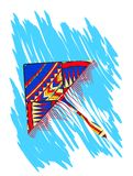 Kite up in the clouds. Vector illustration Royalty Free Stock Photos