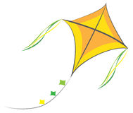 Kite. Vector style kite with ribbons stock illustration