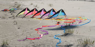 Kite waiting to fly. Colorful kite tethered on beach stock images