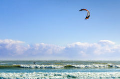 Kitesurfing water sports wind person Stock Image