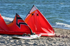Kiteboard at the beach Royalty Free Stock Images