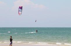 Kiteboard. A human play kiteboard on Hua Hin sea,Thailand Royalty Free Stock Photography
