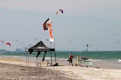 Kiteboard school. At Hua Hin beach,Thailand Royalty Free Stock Photo