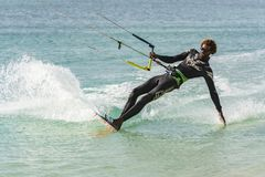 Free Kiteboarder Dipping Hand Boa Vista Royalty Free Stock Photography - 127150737
