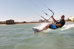 Kiteboarder enjoy surfing Royalty Free Stock Image
