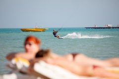 Kiteboarder enjoy surfing Stock Images