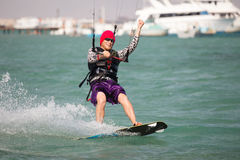 Kiteboarder enjoy surfing Royalty Free Stock Images