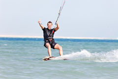 Kiteboarder enjoying surfing Royalty Free Stock Photography