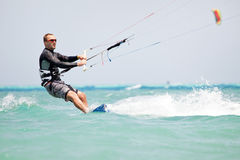 Kiteboarder kite-surfing Royalty Free Stock Image