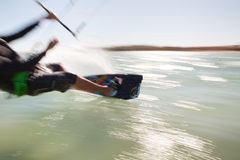Kiteboarder in motion stock images