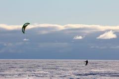 Kiteboarder on the sea ice in Antarctica Stock Photos