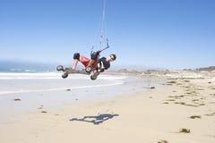 kiteboarding的海滩 库存图片