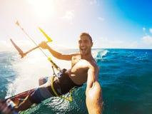 Kiteboarding, Extereme体育 免版税库存照片