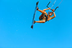 Kiteboarding, Kitesurfing 极端水上运动 冲浪者空气Acti 图库摄影