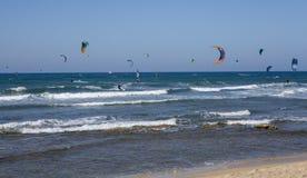 Kiteboarding στη Μεσόγειο στοκ εικόνα