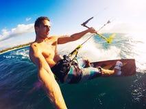 Kiteboarding, спорт Extereme Стоковое Изображение