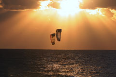 Kiteboarding - 2. Kiteboarding at Mediterranean sea, Israel Stock Photography