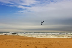 Kiteboarding. At Guincho beach located close to the Portuguese city of Cascais Stock Photography