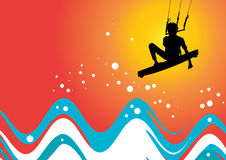 Kiteboarding. Vector image of a kiteboarder in action Royalty Free Stock Photo