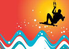 Kiteboarding. Vector image of a kiteboarder in action Royalty Free Stock Photography