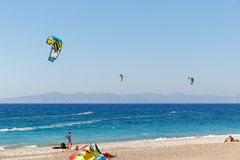 Kiteboarding on Aegean Sea Royalty Free Stock Photos