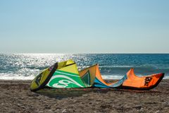 Kiteboarding in Agios Nikita Beach, Lefkas-Insel, Griechenland, Lizenzfreie Stockfotos