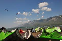 Kiteboarding in Akyaka Royalty Free Stock Photo