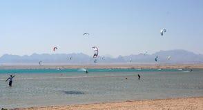 Kiteboarding beach with kitesurfer