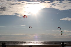 Kiteboarding ,cold and beach or nature. Beautiful kites , cold, beach of Ladoga lake in Russia royalty free stock images