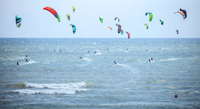 Kiteboarding competition at Z-Games extreme sports festival Royalty Free Stock Images