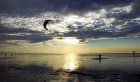 Kiteboarding. (from the English. kite -- board and kite -- Board, boarding -- riding a Board) or kiting -- a sport, which is based on the movement under the Royalty Free Stock Images