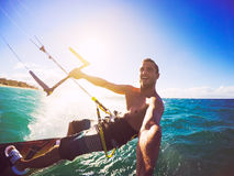 Kiteboarding, Extereme Sport. Kiteboarding. Fun in the ocean, Extreme Sport Kitesurfing. POV Angle with Action Camera Royalty Free Stock Image