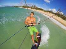 Kiteboarding. Fun in the Ocean, Extreme Sport Royalty Free Stock Image