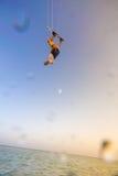Kiteboarding. Fun in ocean. Extreme Sport Kitesurfing. Royalty Free Stock Photos