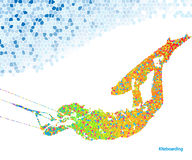 Kiteboarding Jump. Extreme Sports. Kiteboarding Jump. Illustration Mosaic in the shape of a Man and Sky Royalty Free Stock Image
