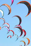 Kiteboarding kites in the sky. A lot of kiteboarding kites in the sky Royalty Free Stock Photo