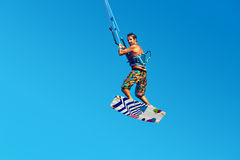 Kiteboarding, Kitesurfing. Extreme Water Sports. Surfer Air Acti Royalty Free Stock Images