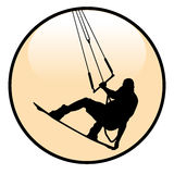 Kiteboarding Rider Icon. On white background. Illustration Stock Image