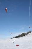 kiteboarding snow Arkivfoton