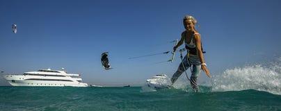 Kiteboarding Sport In Egipt Royalty Free Stock Photo
