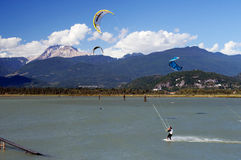 Kiteboarding in Squamish Royalty Free Stock Photos