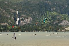 Kiteboarding, Squamish, Brits Colombia Stock Foto's