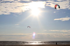 Kiteboarding , sun and beach or nature. Beautiful kites , sun is shining brightly, beach of Ladoga lake in Russia Stock Photo