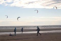 Kiteboarding , sun and beach or nature. Beautiful kites , sun is shining brightly, beach of Ladoga lake in Russia royalty free stock photos