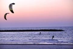 Kiteboarding in Tel Aviv Stock Photo