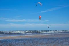 Kitebording at baltic sea. Travel photo. stock image