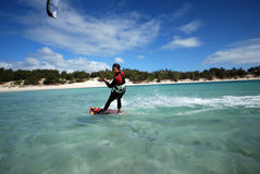 Kiter in Madagascar wind. Flying over the Indian Ocean Royalty Free Stock Photos