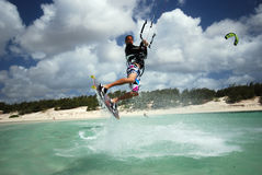 Kiter in Madagascar wind. Flying over the Indian Ocean Royalty Free Stock Image