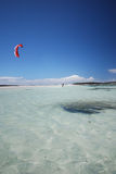 Kiter in Madagascar wind. Flying over the Indian Ocean stock photo